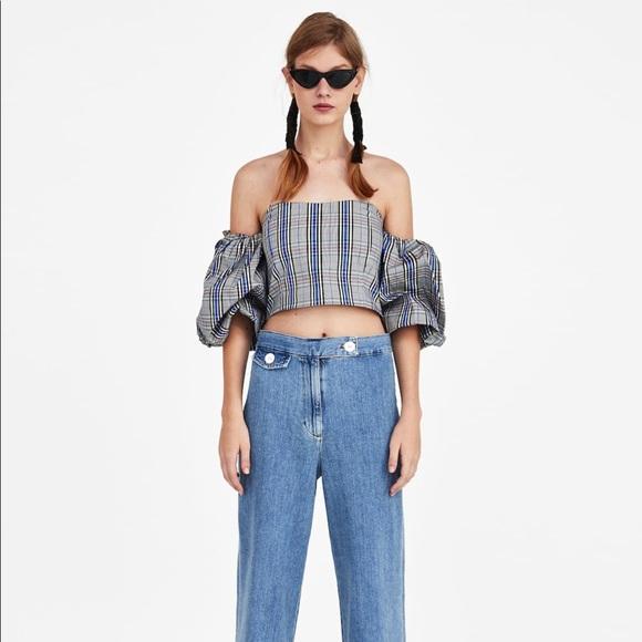 Zara Tops - Zara checked crop top